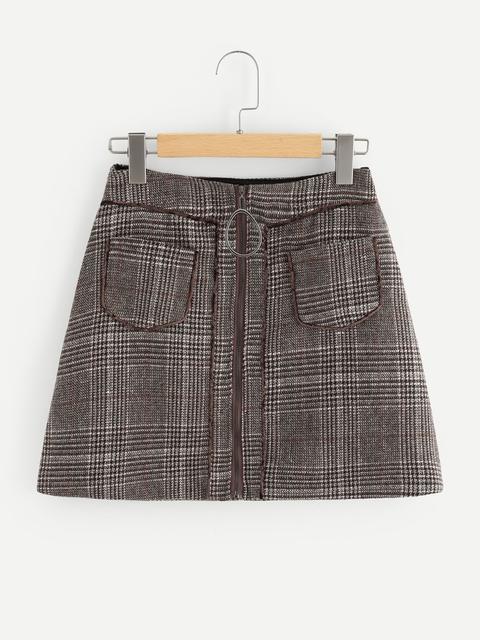 SheIn - Ring Zipper Up Plaid Skirt