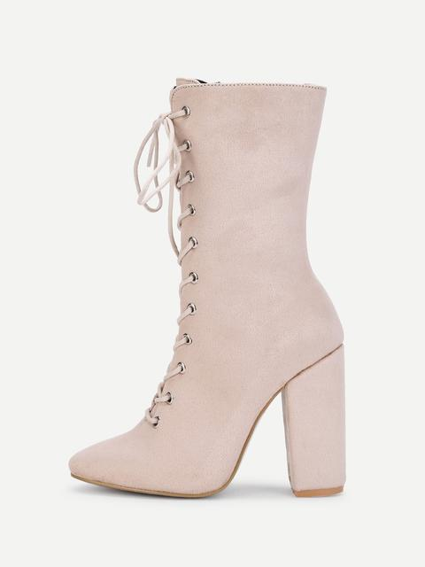 SheIn - Side Zipper Lace Up Suede Boots