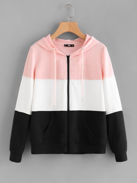 SheIn - Cut And Sew Hoodie Jacket