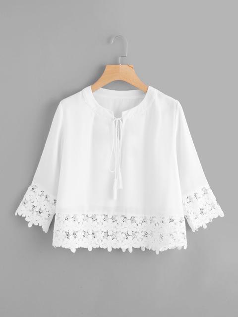 SheIn - Lace Crochet Contrast Blouse