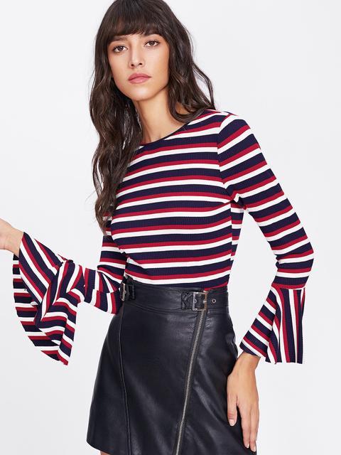 SheIn - Trumpet Sleeve Rib Knit Striped T-shirt