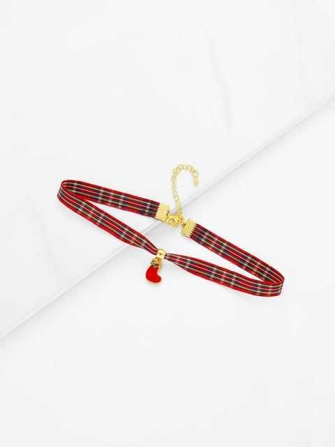 SheIn - Christmas Sock Detail Gingham Print Choker