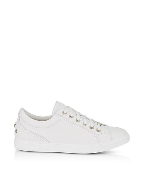 Jimmy Choo - Cash SML Ultra White Leather Low Top Sneakers w/Studded Stars