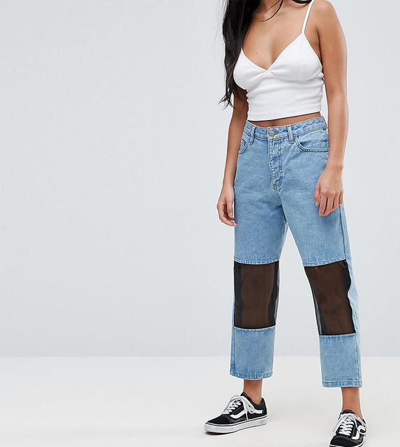 Chorus Petite - Mesh Panelled Mom Jeans