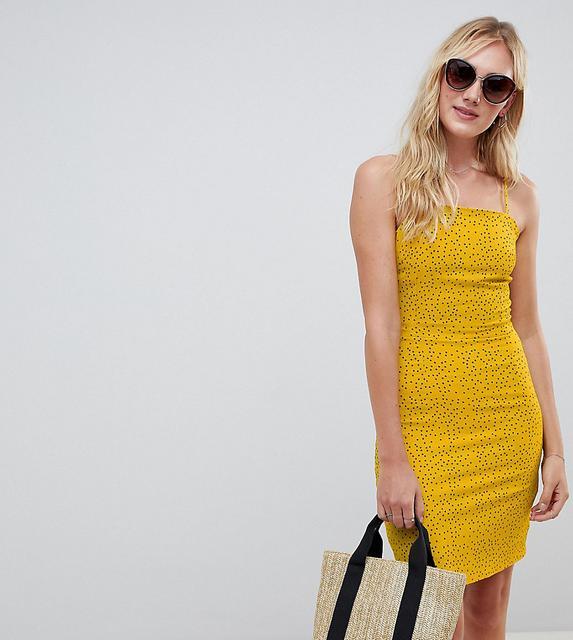 Glamorous Tall - Trägerkleid im Stil der 90er mit Pünktchenmuster-Gelb