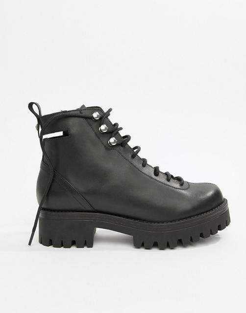 ASOS DESIGN - Premium Rivalry leather chunky lace up ankle boots