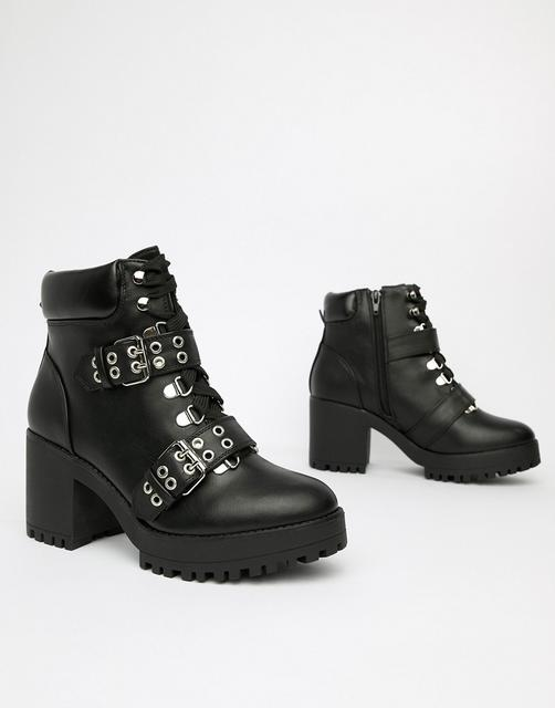 Truffle Collection - Chunky Heeled Ankle Boots