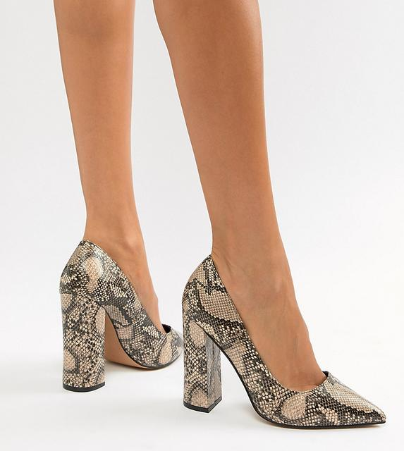 ASOS DESIGN - Palmer pointed high heeled court shoes in snake