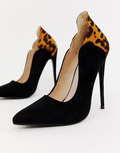 Lost Ink - Tammy leopard print court shoes