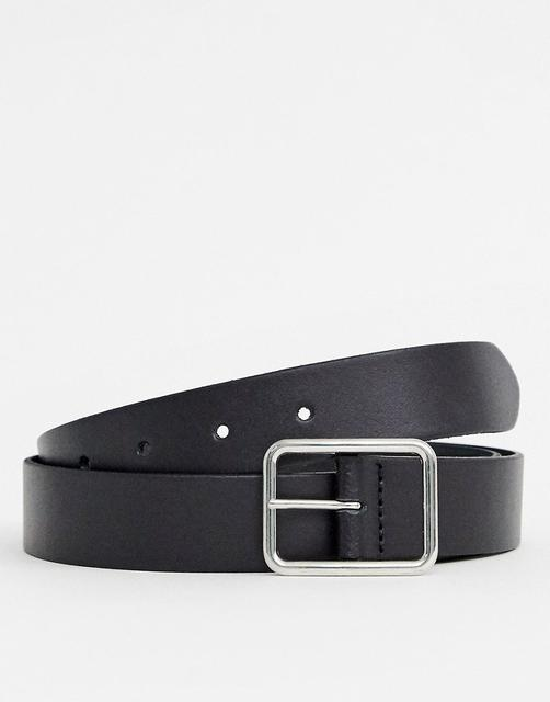 ASOS DESIGN - leather slim belt in black with silver buckle
