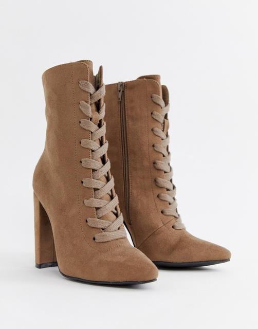 ASOS DESIGN - Elicia lace up heeled boots