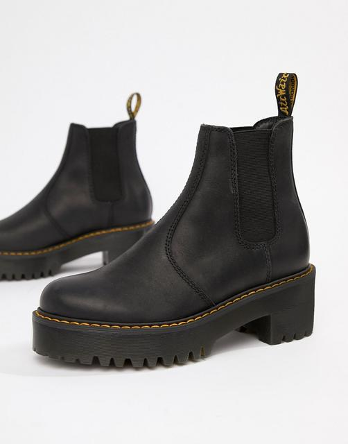 DR. MARTENS - Rometty Black Leather Heeled Chelsea Boots