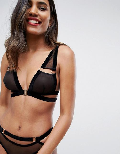 ASOS DESIGN - Penelope velvet & mesh cut out underwire bra