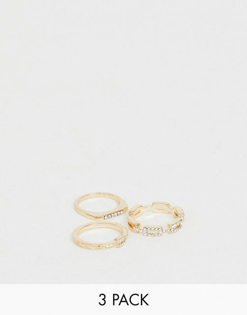 ASOS DESIGN - pack of 3 rings with chain link and fine bar ring with crystal detail in gold tone