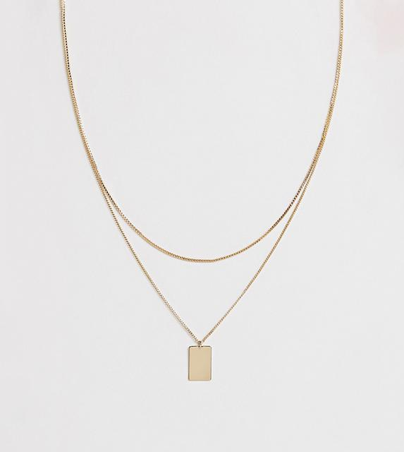 Weekday - chain necklace with square pendant in gold