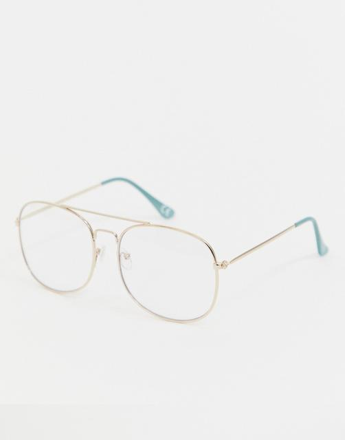 Reclaimed Vintage - Inspired square double brow glasses in gold exclusive to ASOS
