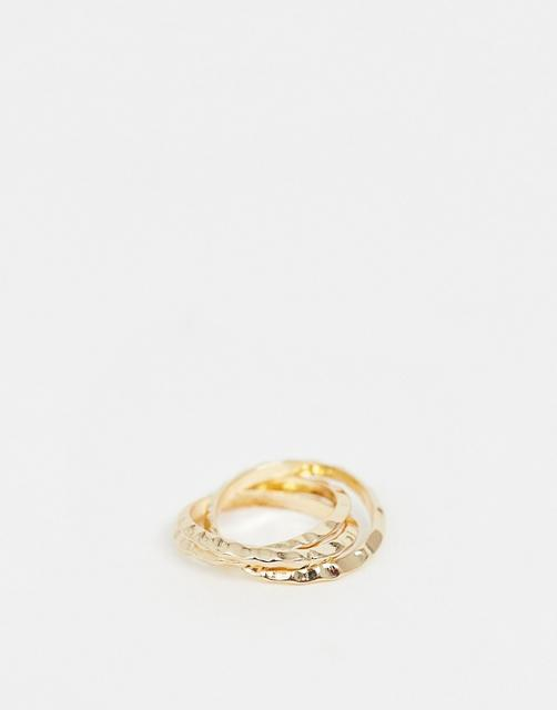 ASOS DESIGN - ring in hammered triple band design in gold tone