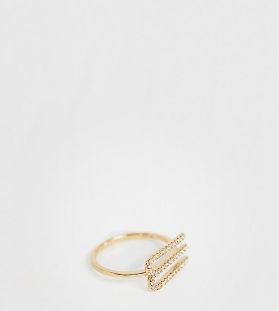 Galleria Amadoro - Galleria Armadoro gold plated crystal pave M initial ring