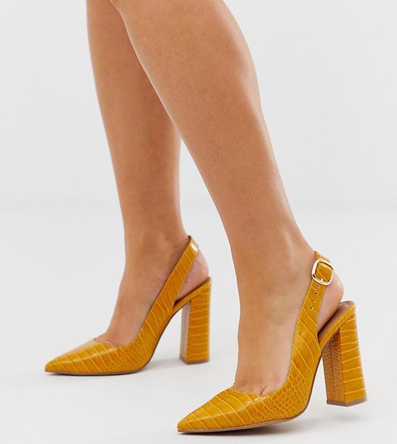 ASOS DESIGN - Wide Fit Penley slingback high heels in croc print