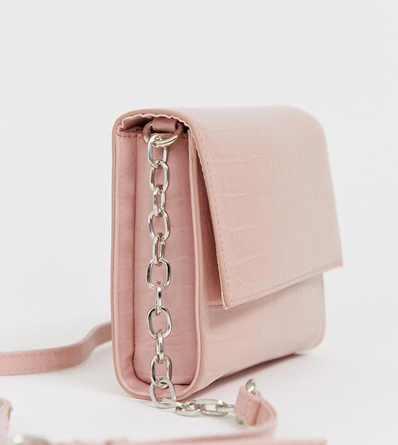 Bershka - faux crocodile cross body bag in pink