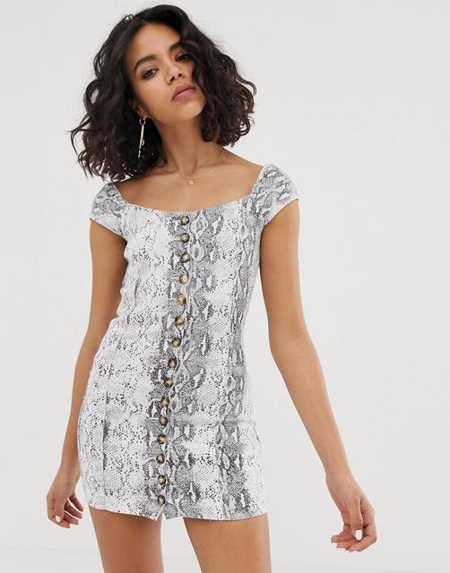 FAE - Minikleid mit eckigem Ausschnitt und Schlangenmuster - Grau