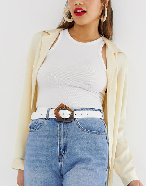 ASOS DESIGN - leather tort abstract buckle waist and hip belt