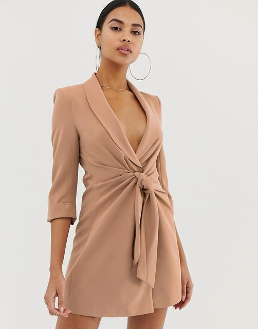 4th & Reckless - 4th & Reckless tie front blazer dress in mocha