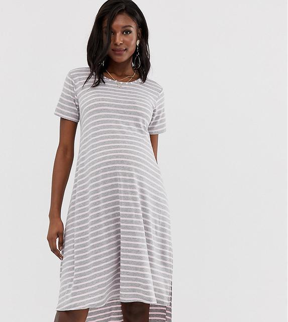 Bluebelle Maternity - dip hem dress in grey and pink Stripe