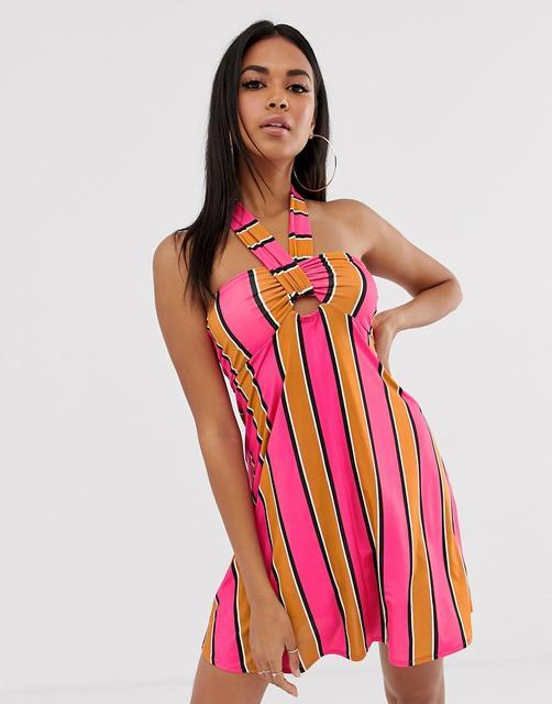 ASOS DESIGN - slinky jersey beach sundress with halter neck in multi stripe