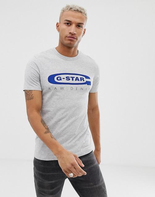 G-Star - Graphic 4 - Schmales T-Shirt mit Logo auf der Brust aus Bio-Baumwolle, Grau - Grau