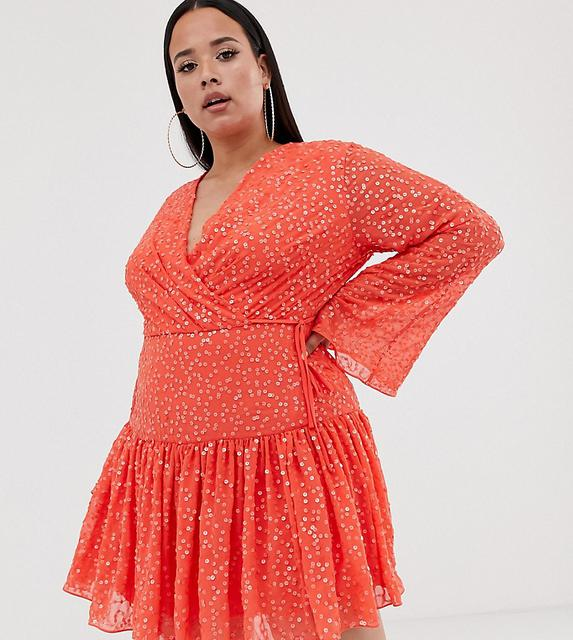 ASOS Curve - ASOS DESIGN Curve mini wrap dress in all over sequin and flippy skirt