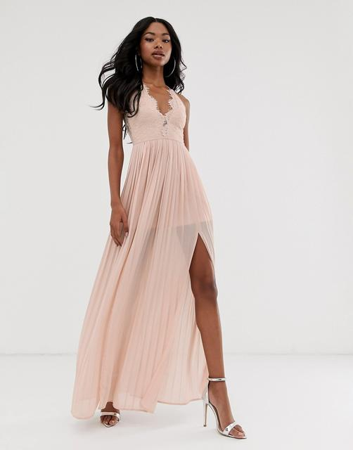 Rare - London maxi dress with cup detail and scalloped back in taupe