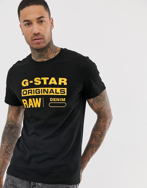 G-Star - Originals – Schwarzes T-Shirt aus Bio-Baumwolle mit Logo