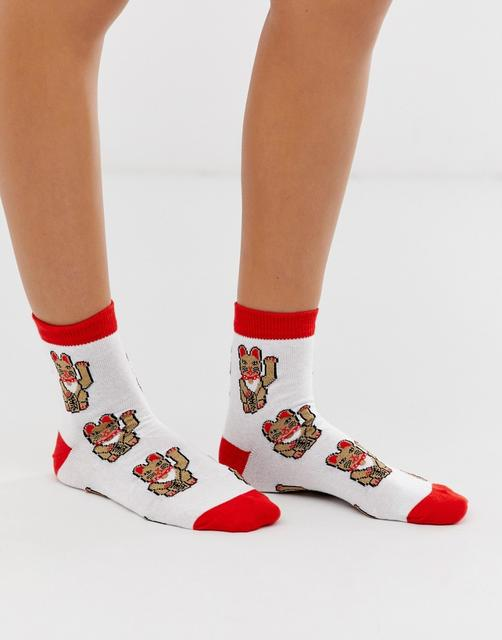 ASOS DESIGN - waving cat ankle socks