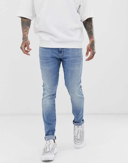 G-Star - Eng geschnittene Jeans in heller Aged-Waschung-Blau