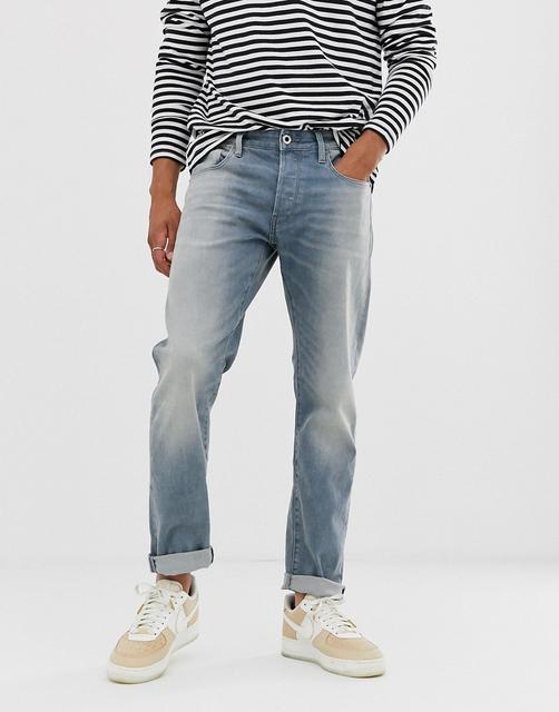 G-Star - 3301 – Schmale Jeans in verschlissen heller Waschung-Blau