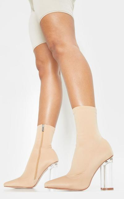 PrettyLittleThing - Nude Clear High Heel Sock Boot, Pink