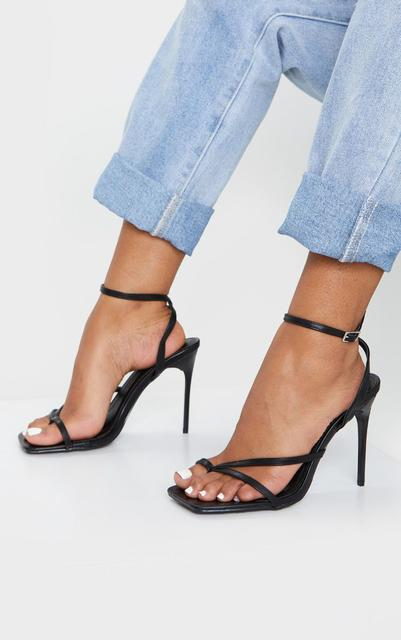 PrettyLittleThing - Black PU Square Toe Strappy High Heeled Sandals, Black