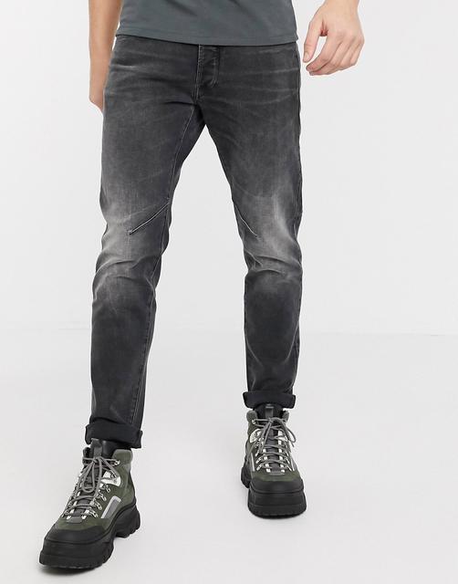 G-Star - D-Staq – 5-Taschen Jeans in Grau und schlanker Passform