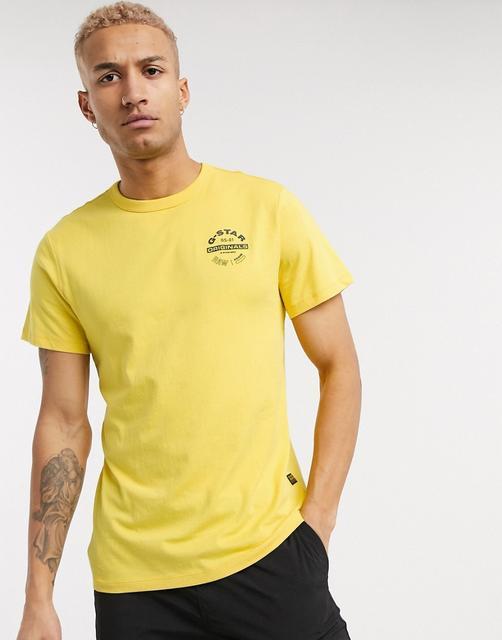 G-Star - Originals – T-Shirt mit rundem Logo in Gelb