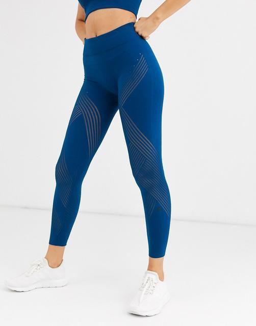 adidas - Links gestrickte Strumpfhose mit hohem Bund-Blau
