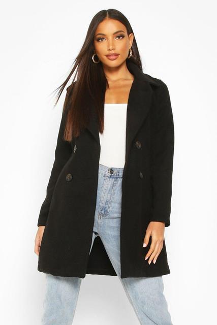 boohoo - Womens Zweireihiger Mantel In Wolloptik Mit Kragen - Schwarz - 34, Schwarz