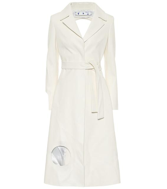 Off-White - Mantel aus Leder mit Cut-outs