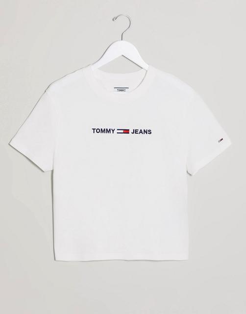 Tommy Jeans - Weißes T-Shirt mit Flaggenlogo