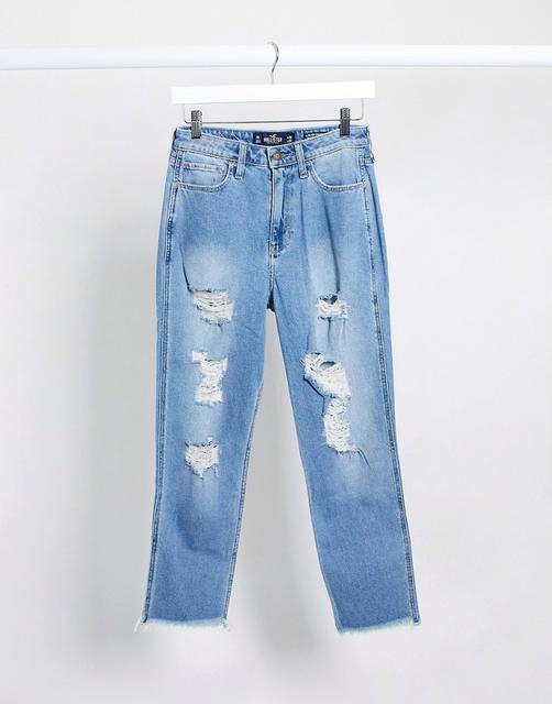 Hollister - Mom-Jeans im Used-Look-Blau