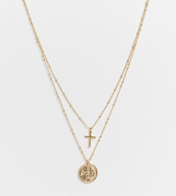 DesignB London - Exklusive – Mehrreihige Halskette mit Münzen- und Kreuzanhängern in Gold