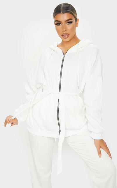 PrettyLittleThing - Cream Oversized Longline Zip Belted Hoodie Jacket, White