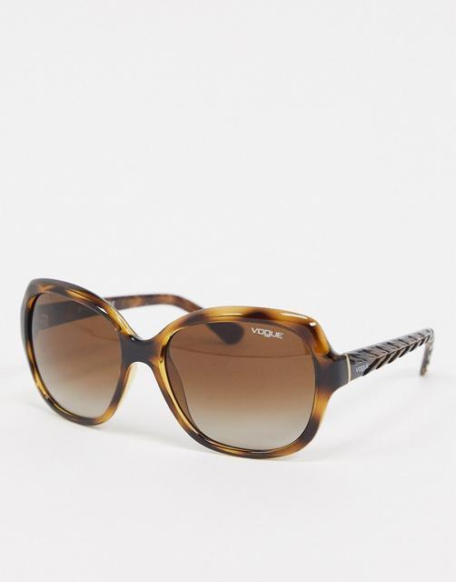 Vogue - Große, eckige Sonnenbrille in Schildpattoptik-Braun