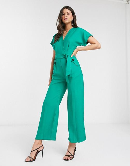 Closet London - Closet – Grüner Jumpsuit in Wickeldesign mit Kimonoärmeln