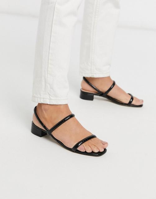 ALDO - Candidly – Sandalen mit niedrigem Absatz und schlauchförmigen Riemen in Schwarz